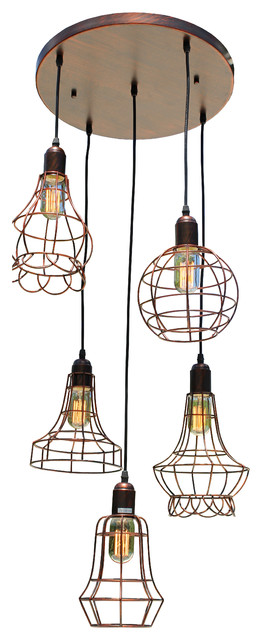 5Light Edson Industrial Style Cage Pendant Chandelier