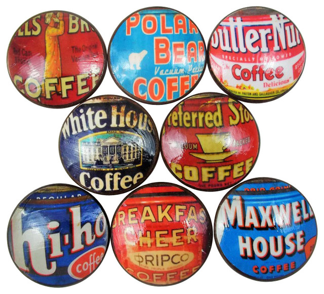 Exceptional Vintage Style Coffee Can Label Oversized Cabinet Knobs, 8 Piece Set  Traditional Cabinet