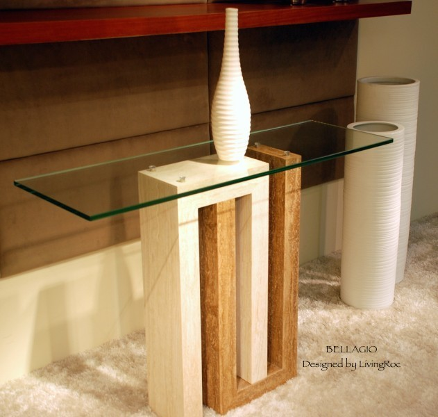 Marble Console Table Travertine And Tempered Glass BELLAGIO Craftsman Entry