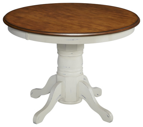 Countryside Pedestal Table, Oak and Rubbed White