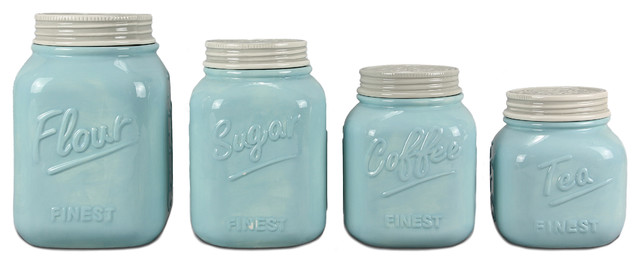4-Piece Ceramic Mason Jar Canister Set Blue  sc 1 st  Houzz & 4-Piece Ceramic Mason Jar Canister Set Blue - Farmhouse - Kitchen ...