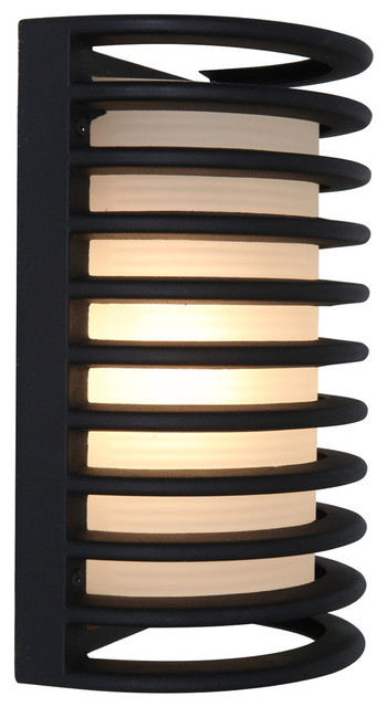 """Bermuda LED Outdoor Bulkhead Wall-Light, 11"""", Ribbed Frosted Glass Shade, Black"""