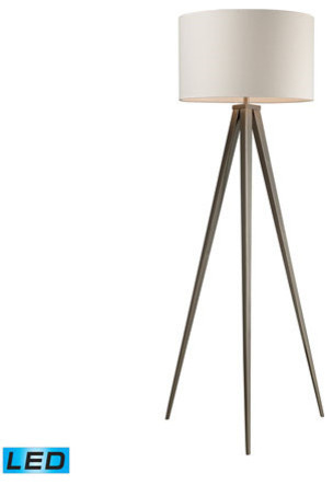 Floor Lamp 1-Light With Satin Nickel Finish Steel Led Base 61 13.5w.