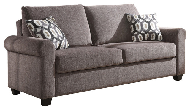 Acme Neveah Chenille Sleeper Sofa Gray Transitional Sofas By Homesquare