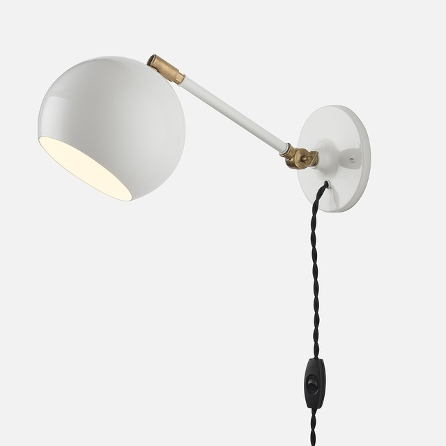 Wall Lamps With Plug : Isaac Plug-In Sconce, White, Long Arm - Modern - Swing Arm Wall Lamps - by Schoolhouse Electric