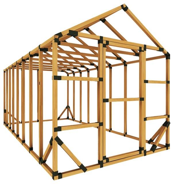 8ft W x 16ft D E-Z Frame Standard Storage Shed Kit, With Floor Framing