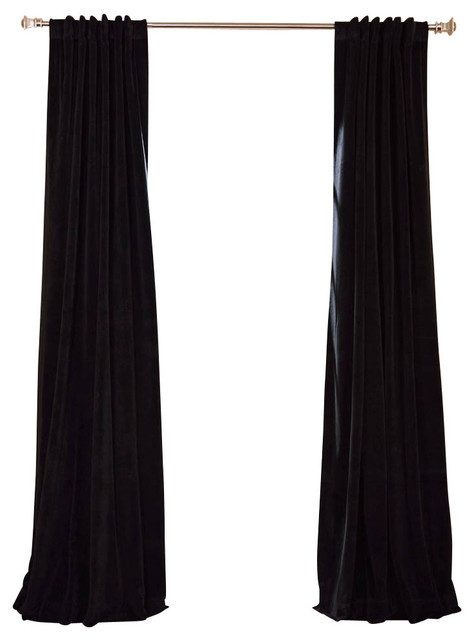 "Signature Warm Black Blackout Velvet Curtain Single Panel, 50""x108""."