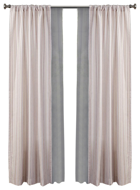 Made4you 4-Pack Stripe Window Panel And Sheer Set, Natural/gray.
