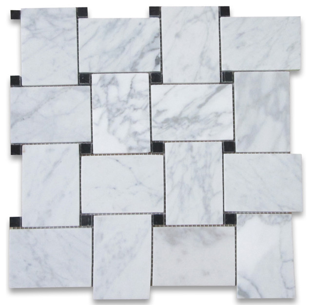 11x11 Carrara White Large Basketweave Mosaic Tile With Black Dots