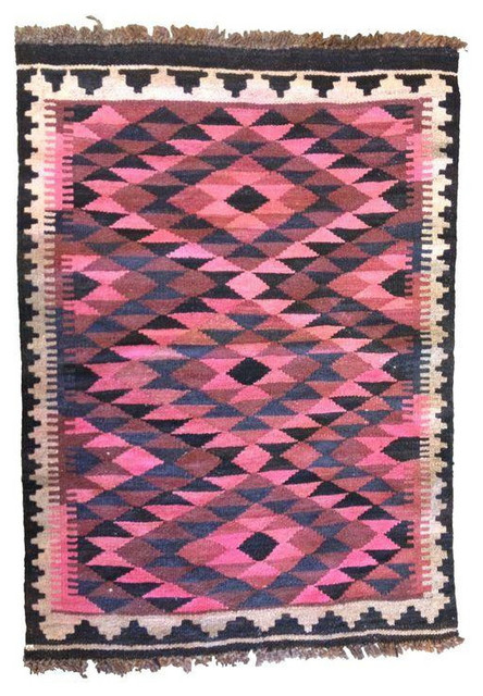 Vintage Small Pink Kilim Rug or Wall Hanging eclectic-rugs