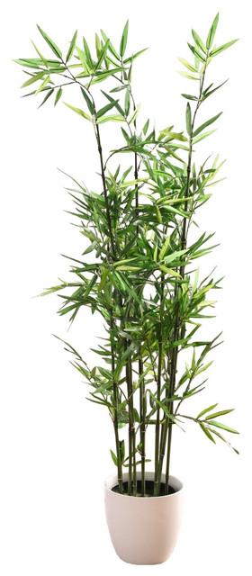 3 75 u0026 39  faux bamboo plant  lush artificial bamboo  plastic pot - transitional