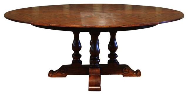 Antique purveyor 54 to 70 round to round solid walnut for Round dining table with hidden chairs
