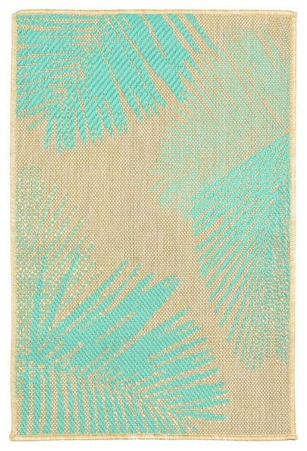 Trans Ocean Terrace Palm 1792/73 Floral Outdoor Rug, Turquoise, 3&x27;3x4&x27;11.