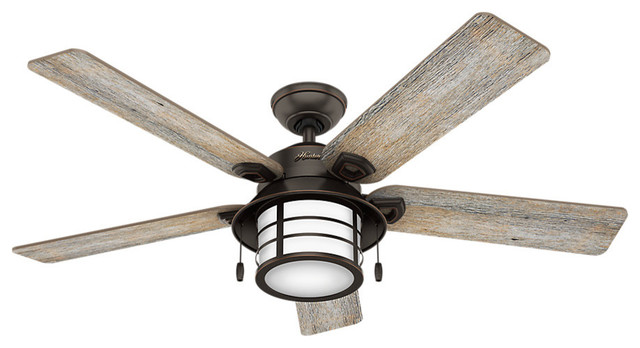 "Hunter Fan Company 54"" Key Biscayne Onyx Bengal Ceiling Fan With Light"