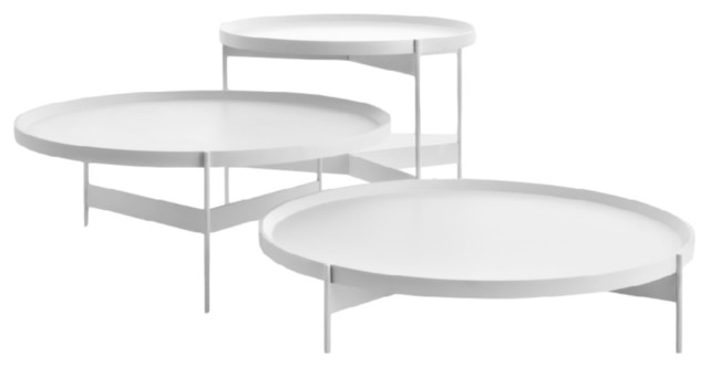 Abaco Tall Round Coffee Table, White Anti Scratch Coffee Tables