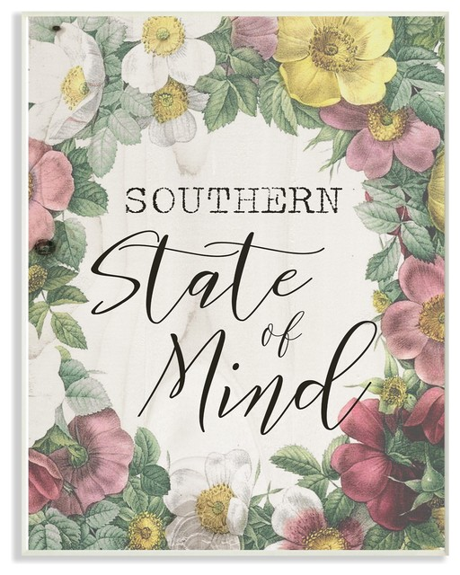 Southern State Of Mind Floral Border Stretched Canvas Wall Art Farmhouse Prints And Posters By Stupell Industries