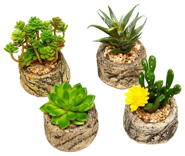 artificial succulents in round stone like pots set of 4 rustic artificial plants and trees. Black Bedroom Furniture Sets. Home Design Ideas