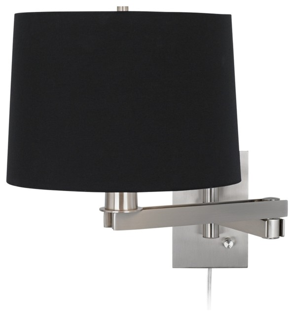 Black Drum Lamp Shades on Design Black Drum Shade Plug In Swing Arm   Contemporary   Lamp Shades
