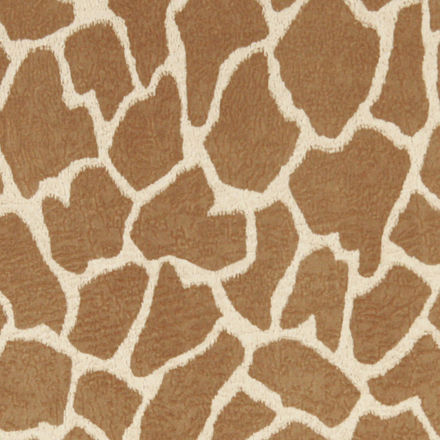 Beige Giraffe Print Microfiber Stain Resistant Upholstery Fabric By The Yard