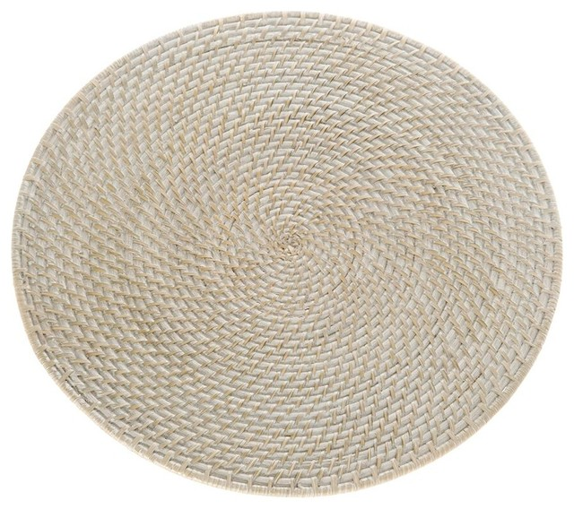 Laguna Round Rattan Placemat 15 Diameter Honey Brown