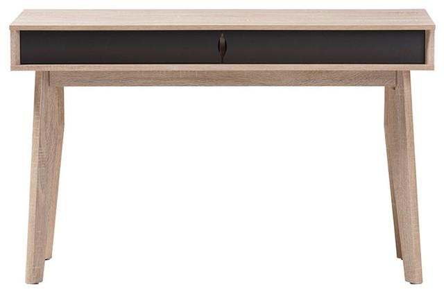 Fella Mid-Century Modern 2-Drawer Oak And Gray Wood Study Desk.