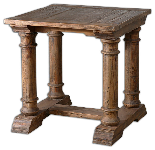 Uttermost - Elegant Distressed Columns Solid Wood Accent Table & Reviews | Houzz