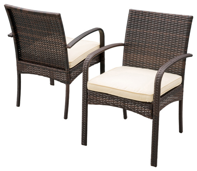 Carmela Outdoor Multibrown PE Wicker Dining Chairs, Set Of 2  Contemporary Outdoor Dining