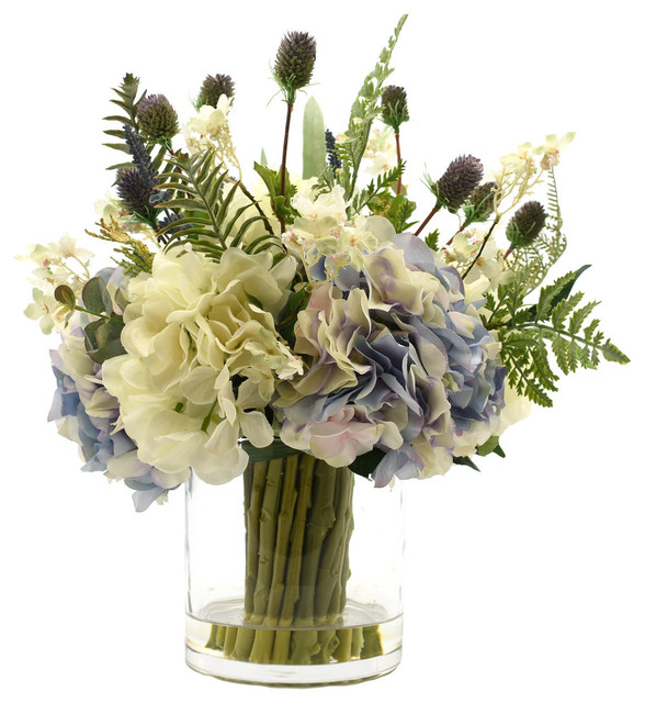 Hydrangeas And Thistle In Glass Vase Transitional Artificial Flower Arrangements By Creative Displays Inc