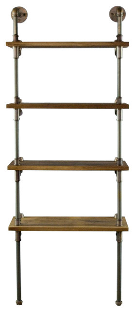 "OS Home and Office Industrial 67"" 4-Shelf Open Bookcase, Reclaimed Wood"