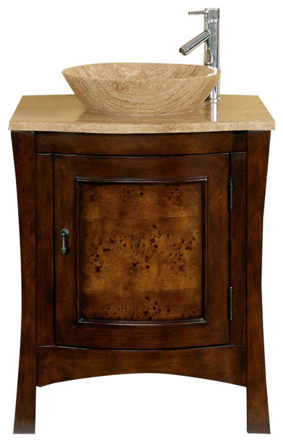 26 Modern Single Vessel Sink Bathroom Vanity Travertine Top