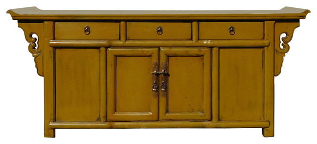 Chinese Mustard Yellow Green Low Credenza TV Console Cabinet Hcs1316
