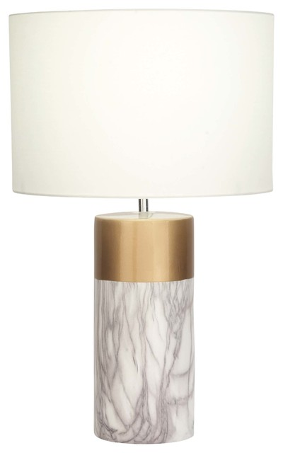 Modern Cylindrical Ceramic And Iron Table Lamp, Gold And White.