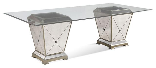 Bassett Mirror Borghese 44x96 Rectangular Double Pedestal Dining