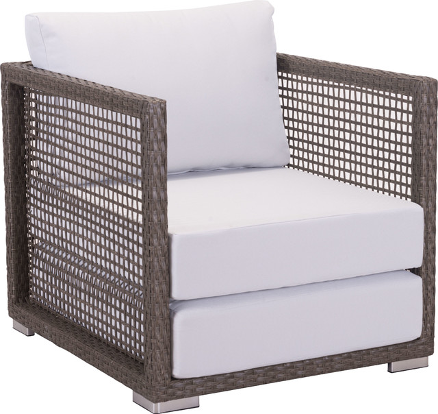 Zuo Fabric, Synethetic Weave, Aluminum Frame Arm Chair Cocoa, Light Gray.