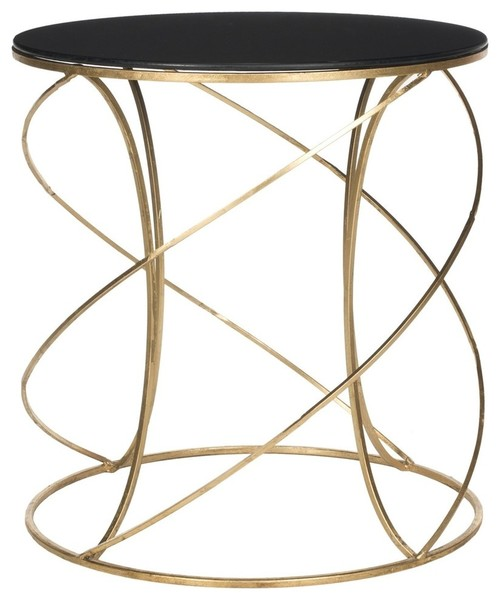 Sergio Cagney Black Glass-Top Round Accent Table