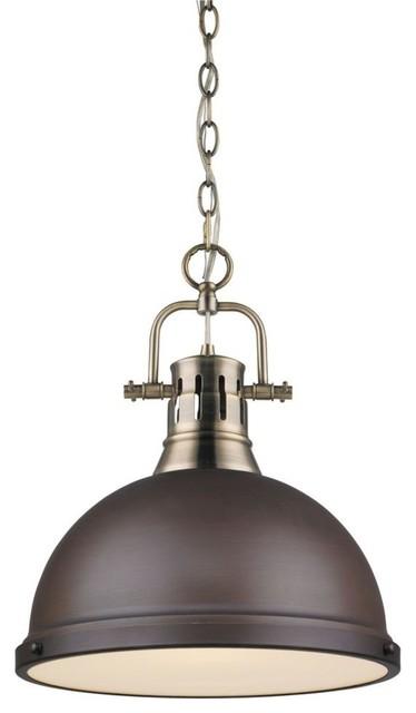 Golden Lighting Duncan 1-Light Pendant, Rubbed Bronze, Aged Brass.