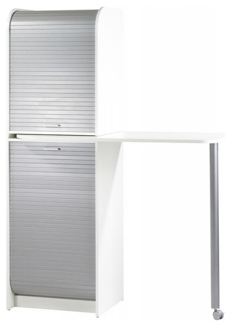 Snack White Kitchen Storage Unit With Sliding Screen and Pull-Out Table