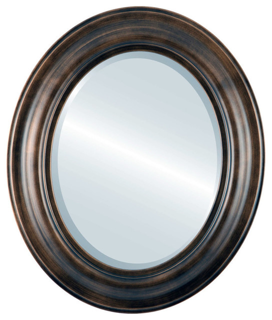 Lancaster Framed Oval Mirror, Rubbed Bronze, 25x35.