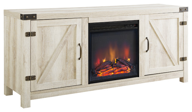"58"" Barn Door Fireplace Tv Stand, White Oak."