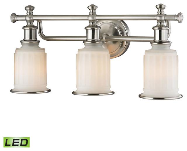 New 3 Light Bathroom Vanity Lighting Fixture Brushed: Elk Lighting Acadia 3-Light Bathroom Lighting Fixture