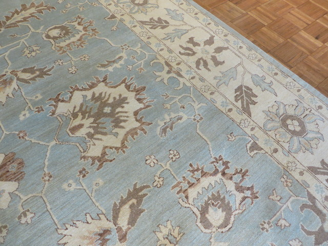 Hand Knotted Light Blue Fine Oushak Vegetable Dyes Oriental Rug 9x12 Traditional Area Rugs By Oriental Rug Galaxy Houzz