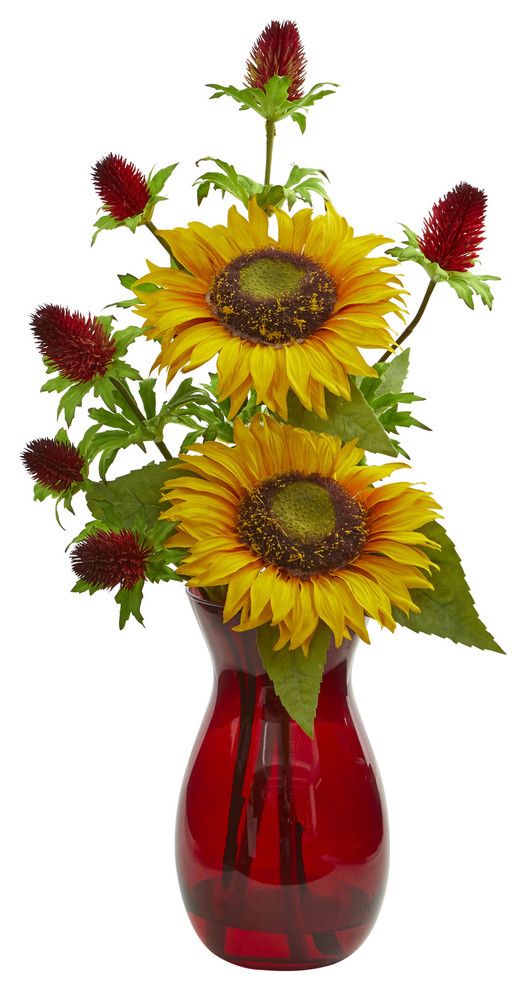 Sunflower And Thistle Artificial Arrangement In Red Vase Farmhouse Artificial Flower Arrangements By Nearly Natural Inc