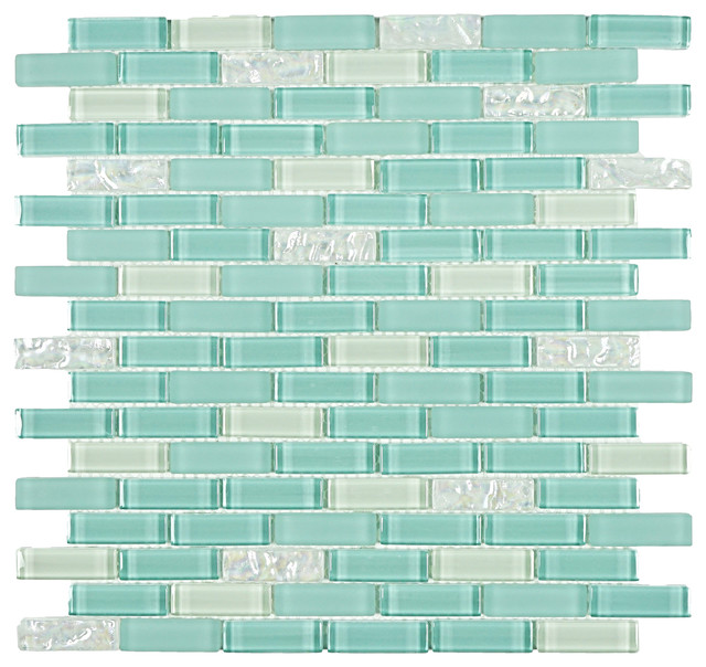 Mc Tiles Sky Blue And White Glass Tile Single Sheet