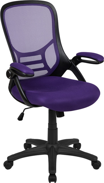 High Back Purple Mesh Ergonomic Swivel Office Chair Black Frame And Flip Up Arms Contemporary Office Chairs By Bentley Marketing