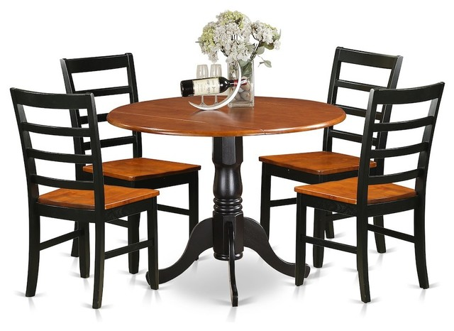 5-Piece Kitchen Table Set, Dining Table and 4 Wooden Chairs, Black/Cherry