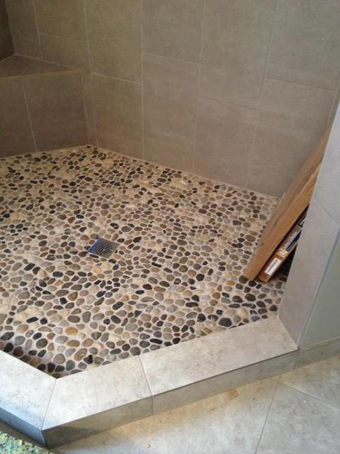 Pebble Rock Shower Floor Traditional Detroit By Troy Tile Stone