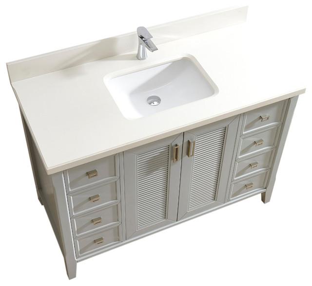 Aurora 48 Vanity Set With White Quartz Top, Oxford Gray.
