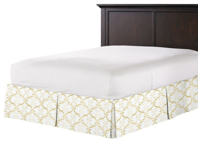 Pale Gold Embroidered Chain Bed Skirt, Pleated contemporary-bedskirts