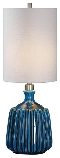 Amaris Cerulean Blue Ceramic Accent Lamp.