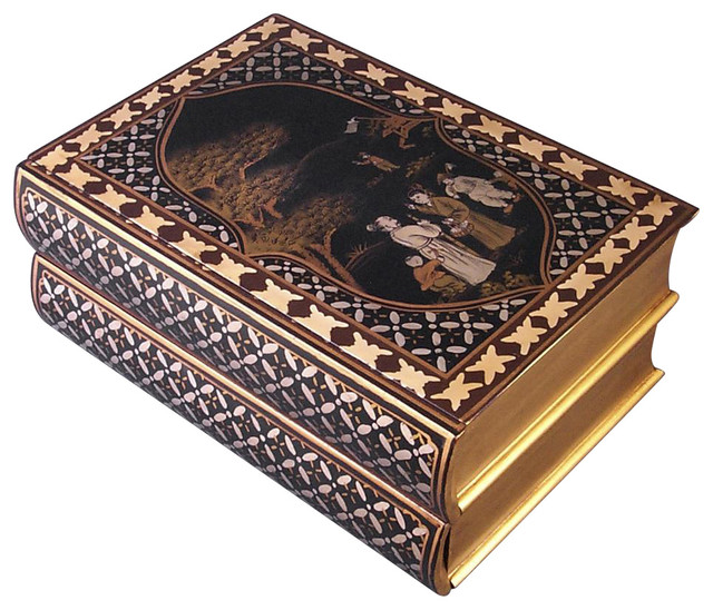 Hand Painted Asian Book Shaped Storage Box With Two